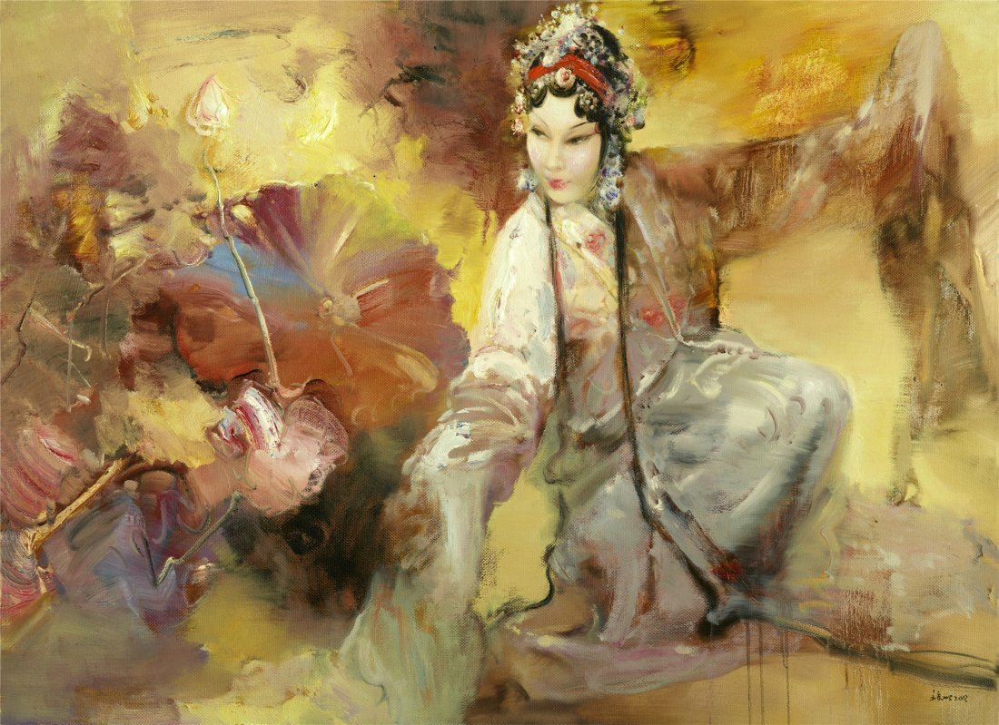 CHINESE CONTEMPORARY ART OIL PAINTING BY WANG WENJIN