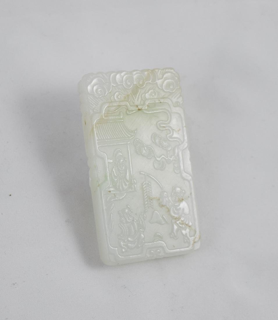 CHINESE WHITE JADE SQUARE PLAQUE - 2