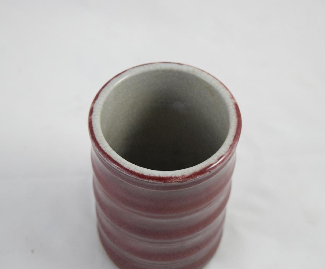 CHINESE PORCELAIN RED GLAZE BRUSH POT - 2