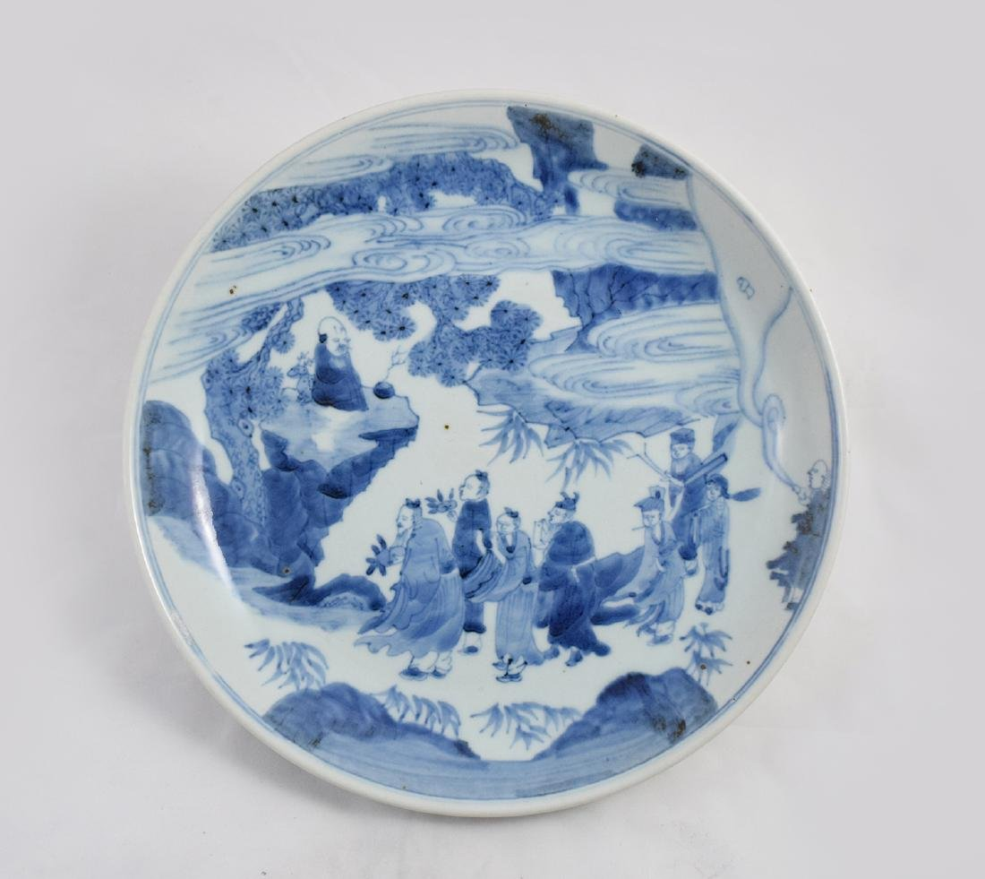 CHINESE PORCELAIN BLUE AND WHITE FIGURES PLATE