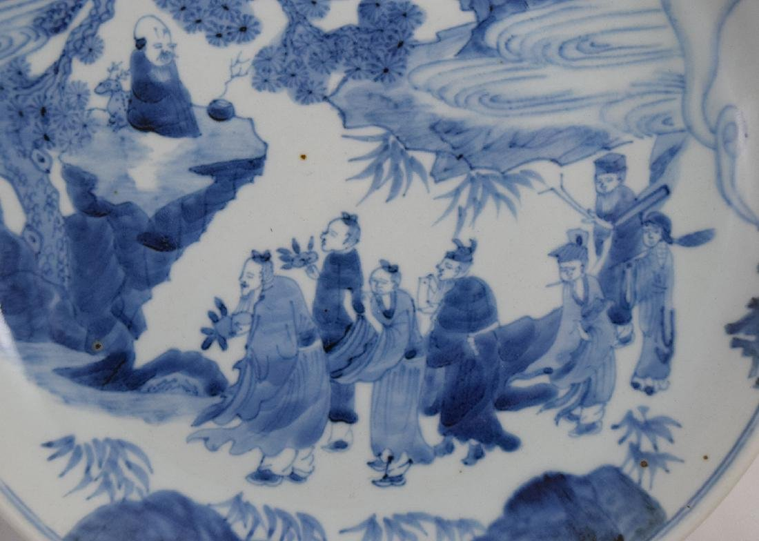 CHINESE PORCELAIN BLUE AND WHITE FIGURES PLATE - 2