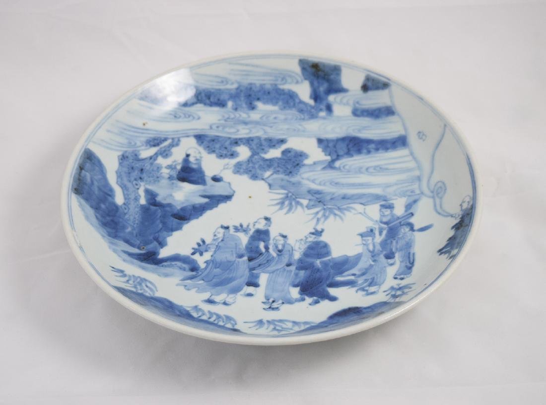 CHINESE PORCELAIN BLUE AND WHITE FIGURES PLATE - 3