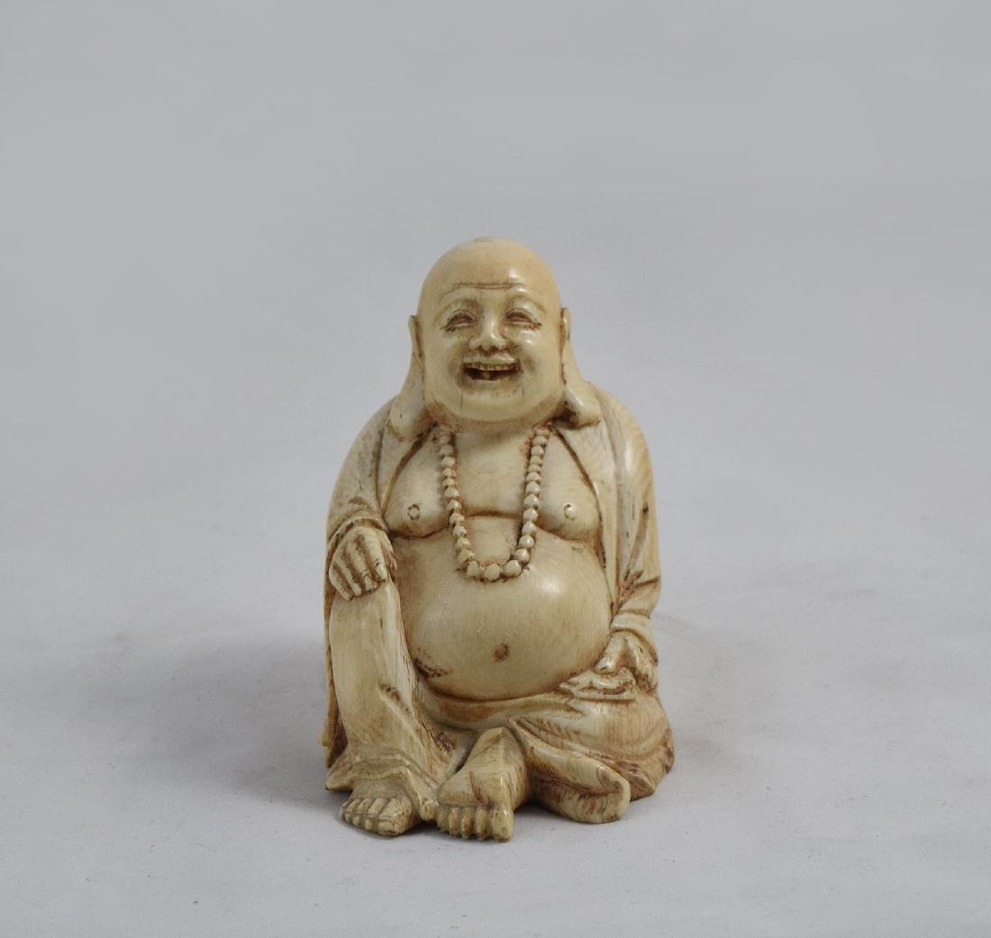 BONE CARVED SEATED BUDDHA