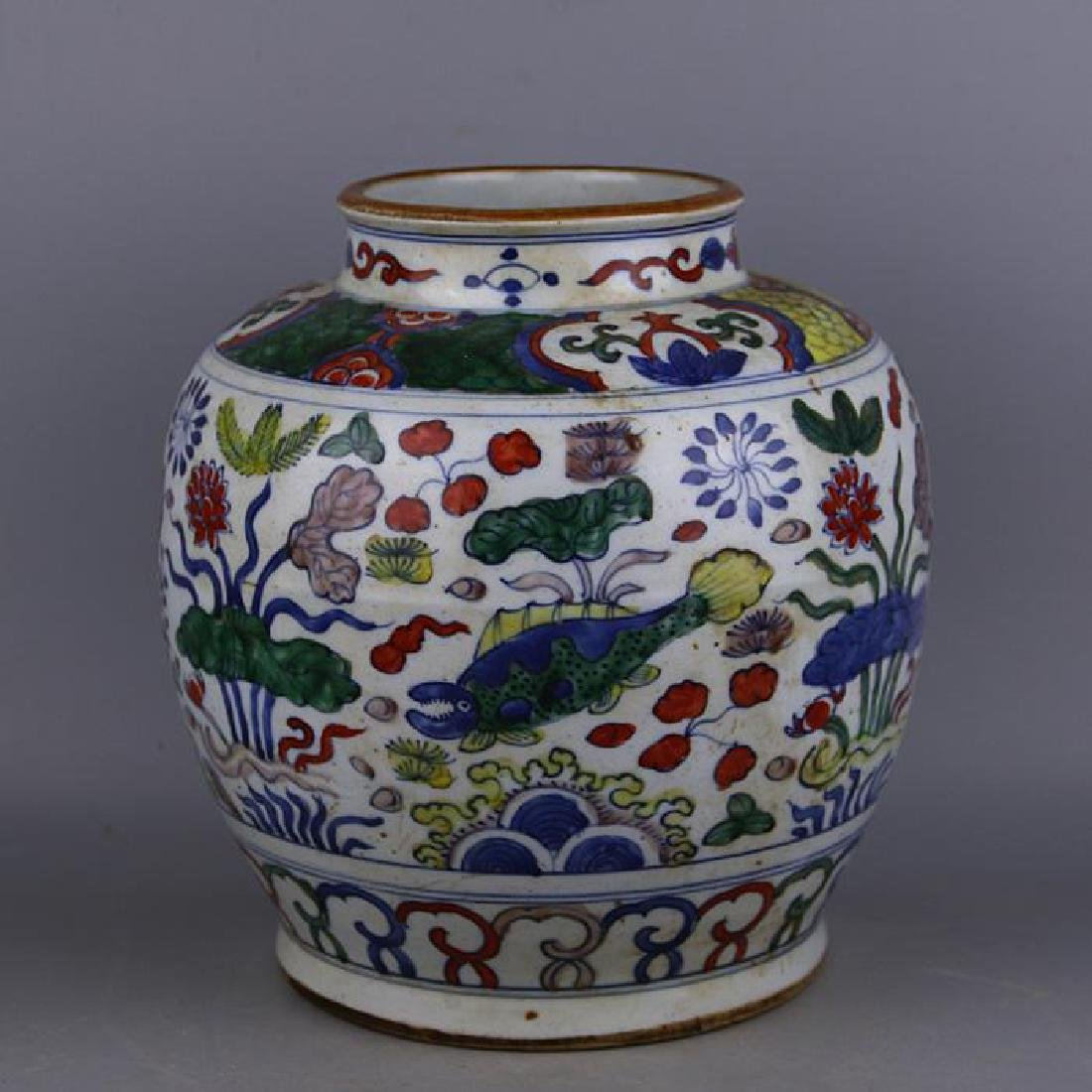 CHINESE PORCELAIN WUCAI FISH AND WEED JAR