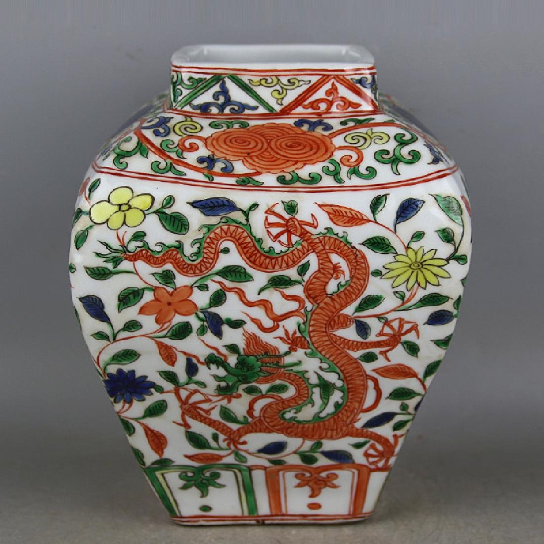 CHINESE PORCELAIN WUCAI DRAGON AND PHOENIX JAR