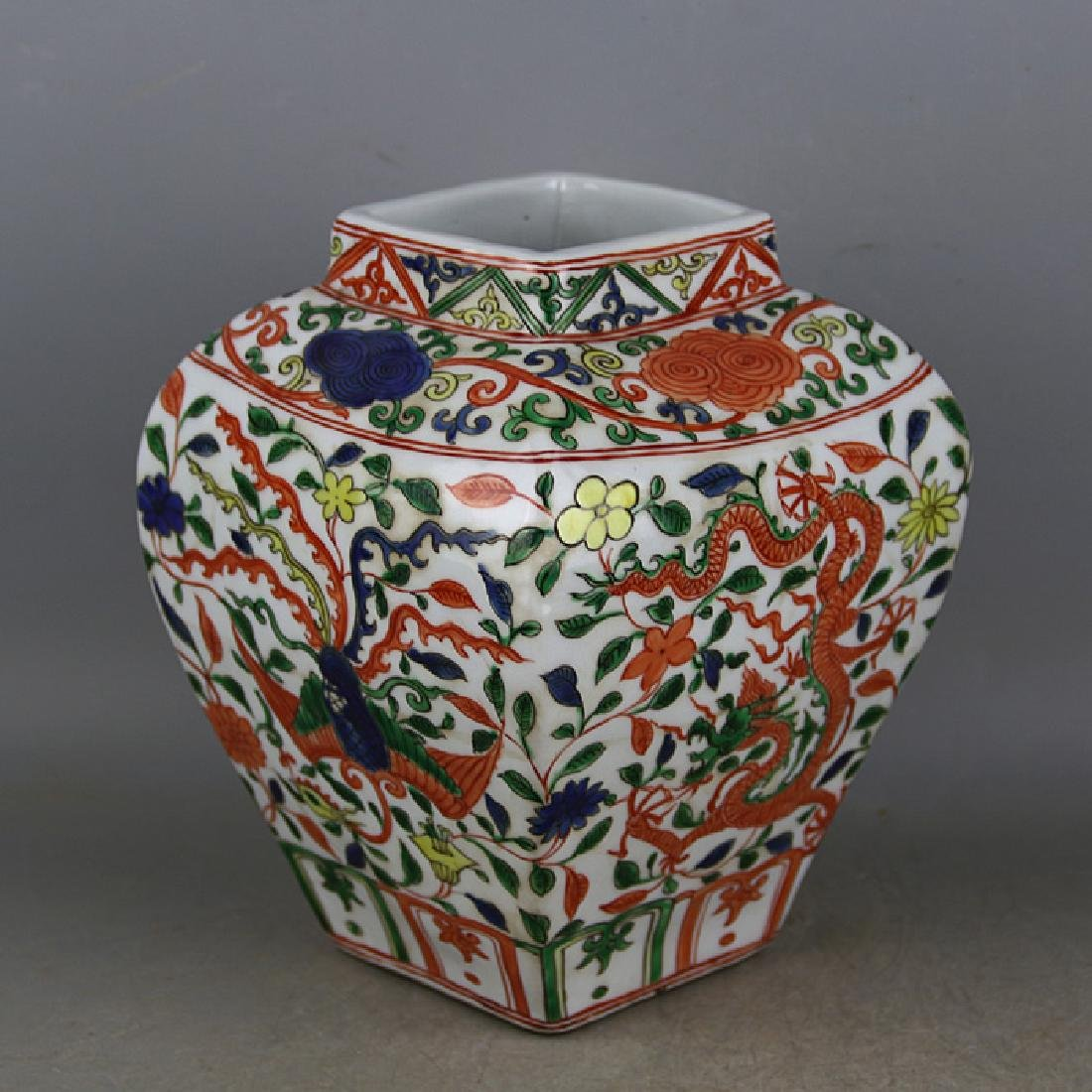 CHINESE PORCELAIN WUCAI DRAGON AND PHOENIX JAR - 2