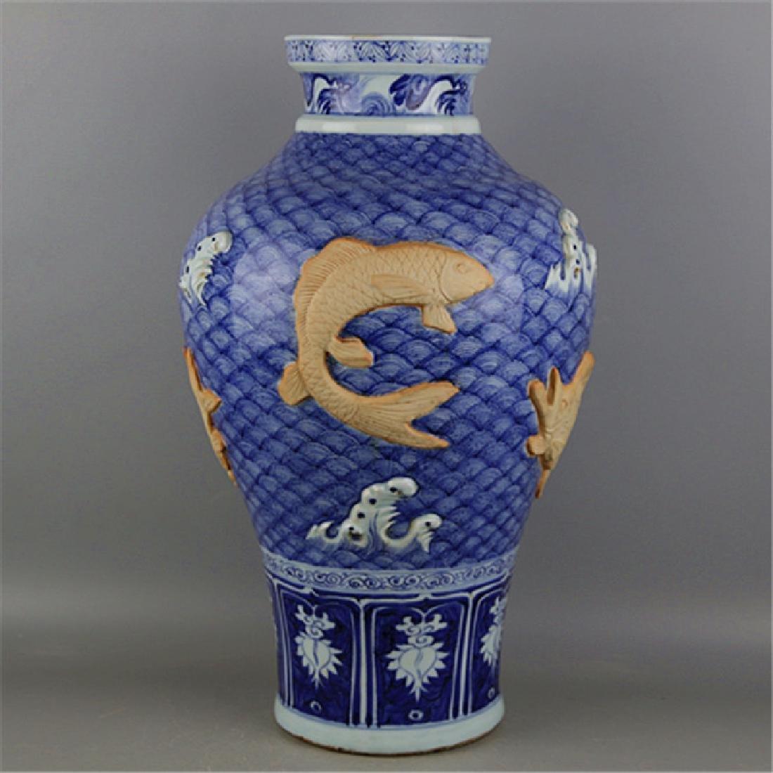 CHINESE PORCELAIN BLUE AND WHITE FISH VASE