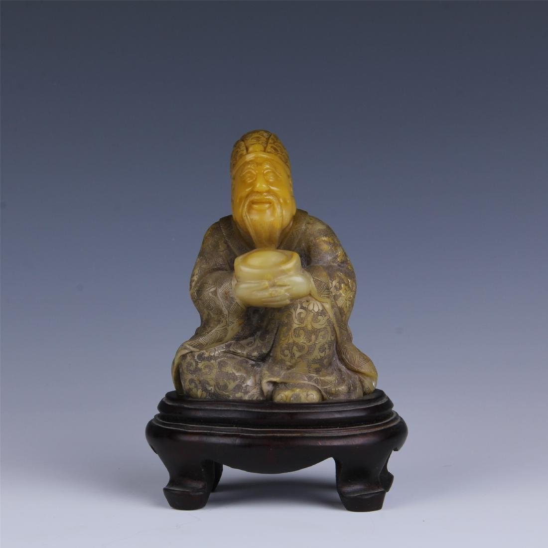 CHINESE SOAPSTONE CARVED FORTUNE GOD