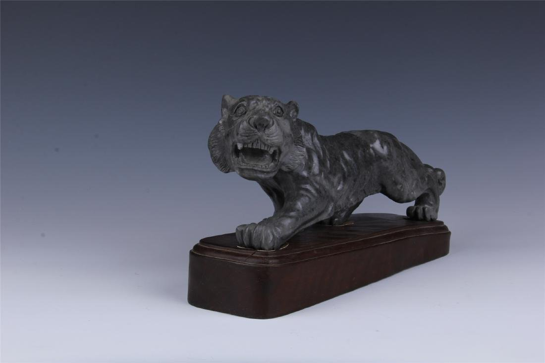 CHINESE SOAPSTONE CARVED TIGER - 4