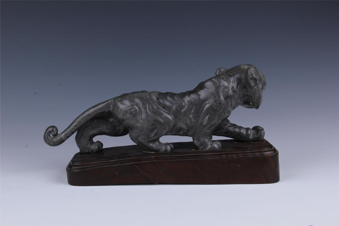 CHINESE SOAPSTONE CARVED TIGER - 5
