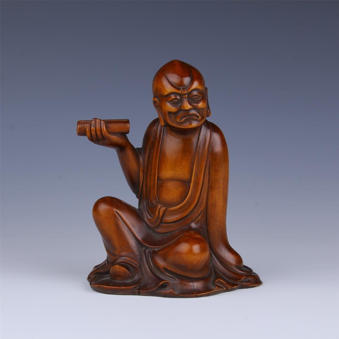 CHINESE BOXWOOD SEATED LOHAN