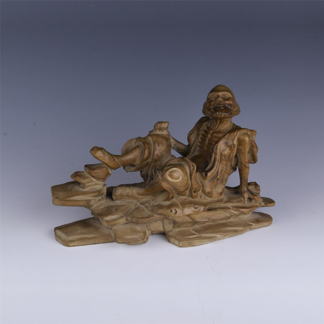 CHINESE SPRUCE WOOD CARVED COUCHING LOHAN
