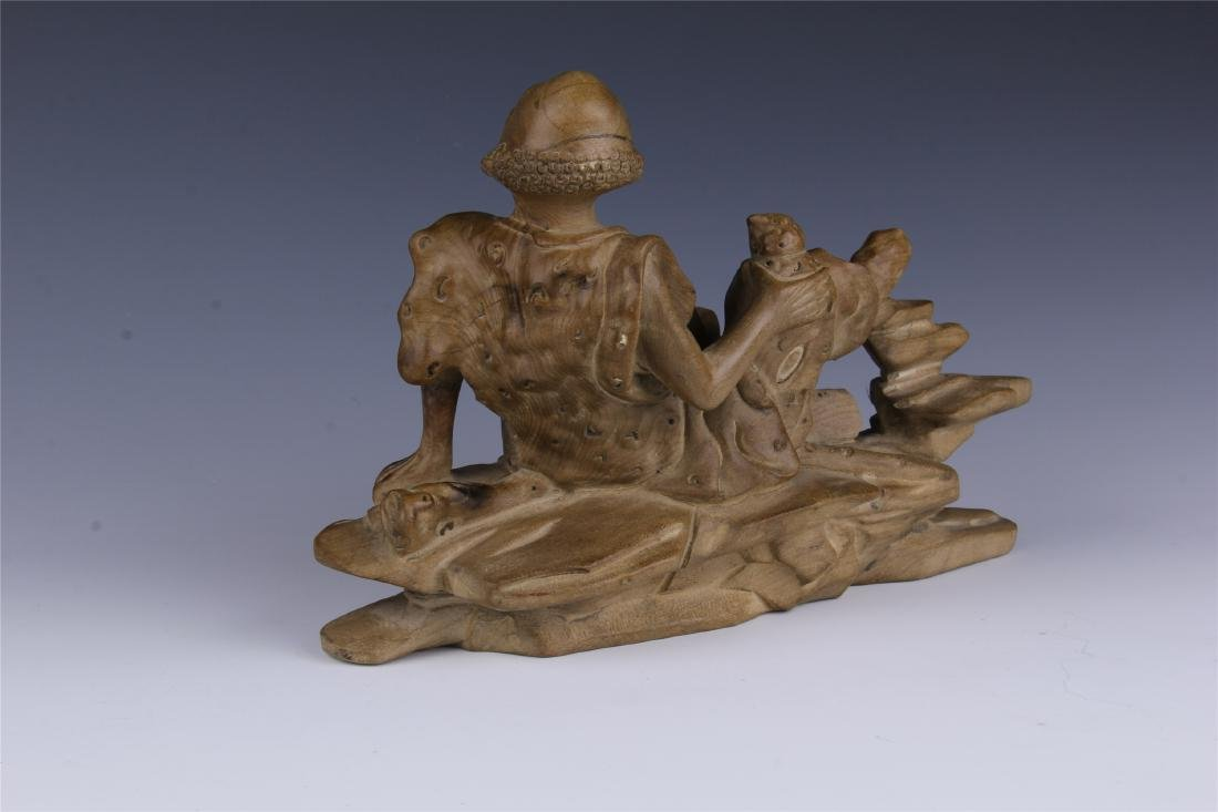 CHINESE SPRUCE WOOD CARVED COUCHING LOHAN - 7