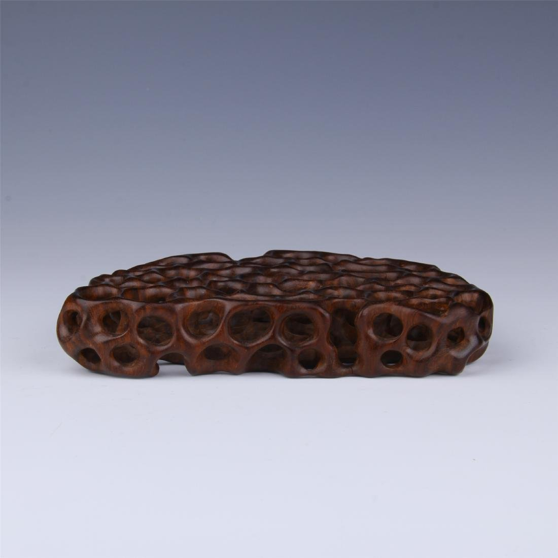 CHINESE ROSEWOOD PIERCED CARVED BASE