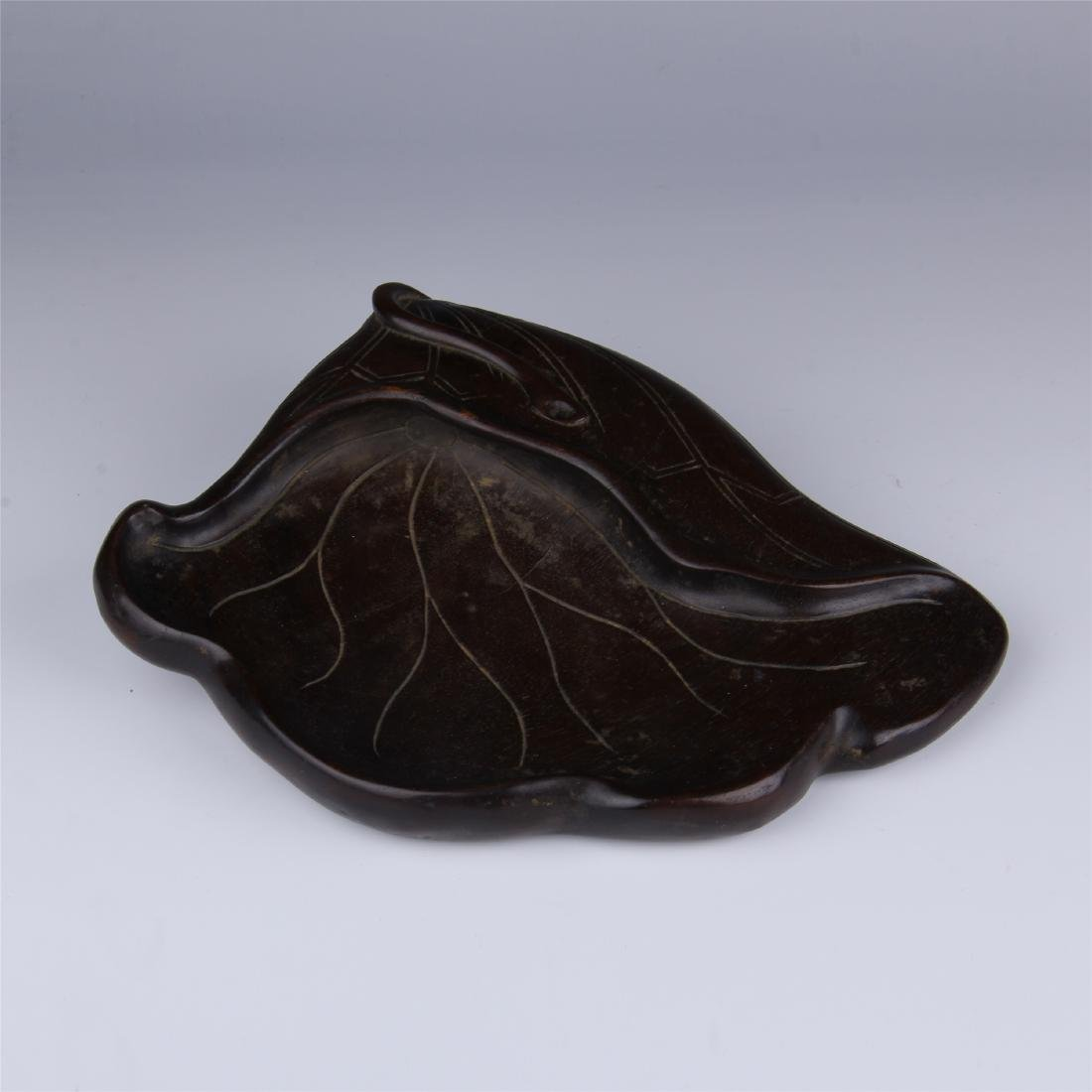 CHINESE ZITAN LOTUS LEAF INK STONE
