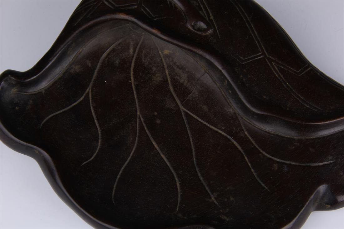 CHINESE ZITAN LOTUS LEAF INK STONE - 4