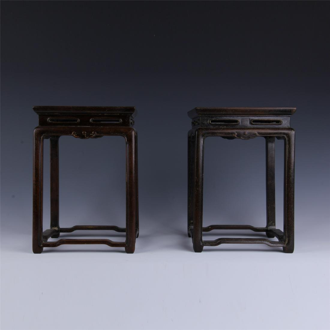 PAIR OF CHINESE ZITAN SQUARE PLANTER STANDS