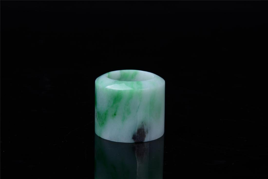 CHINESE NATURAL JADEITE ARCHOR'S RING - 2