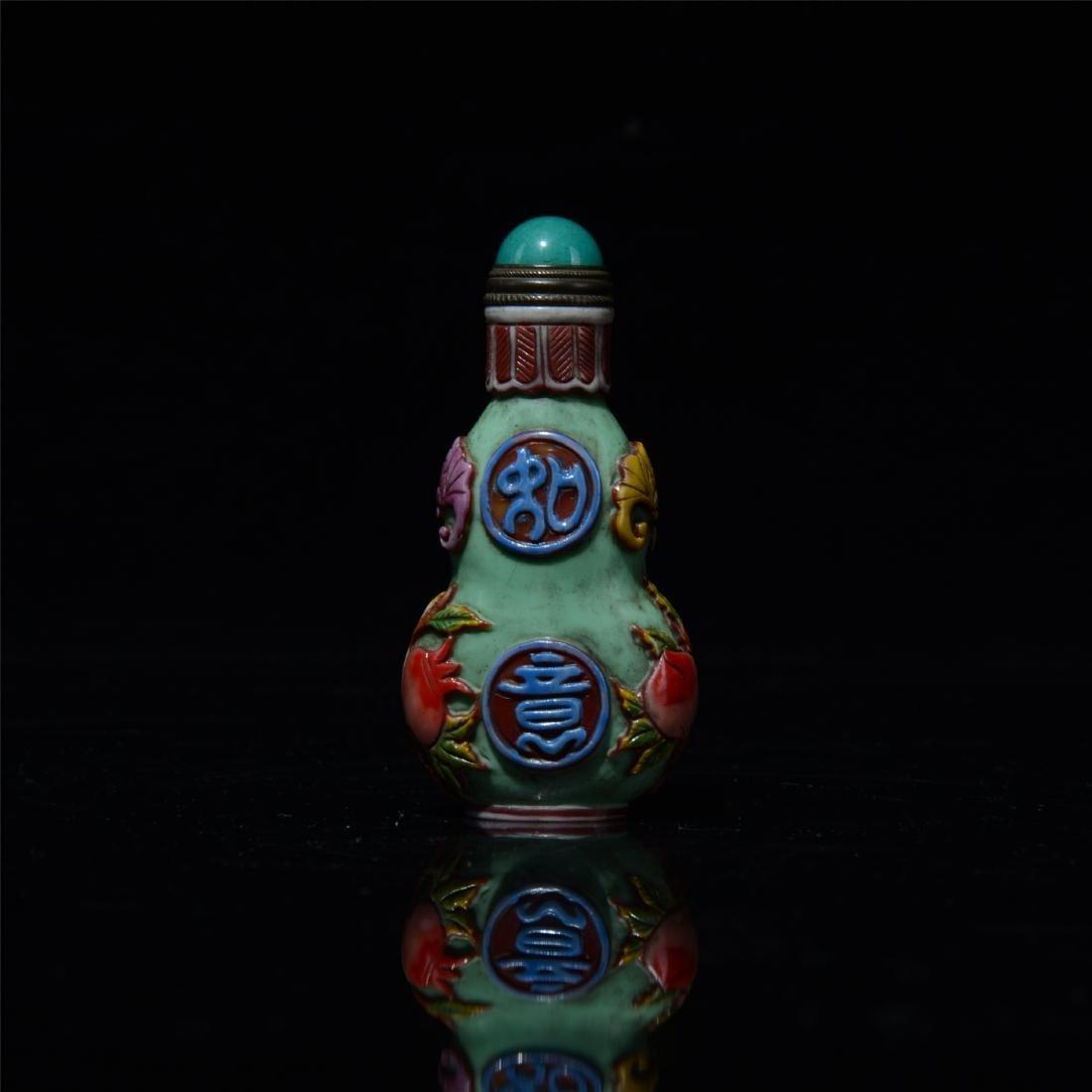 CHINESE PEKING GLASS GOURD SNUFF BOTTLE