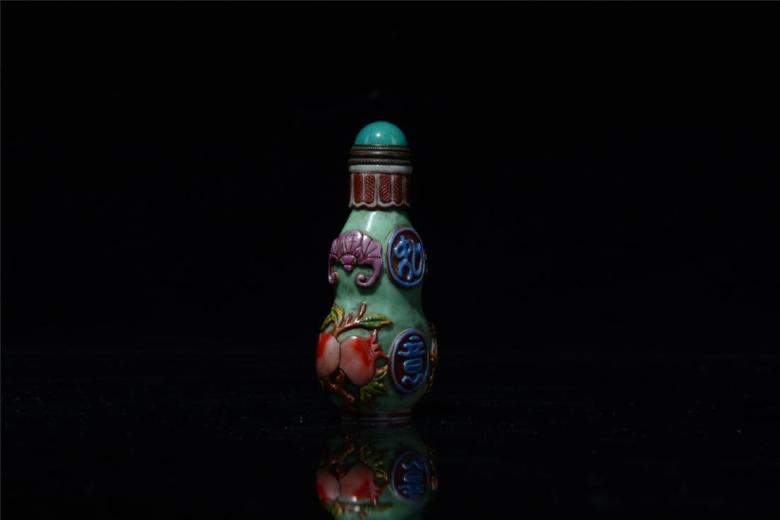 CHINESE PEKING GLASS GOURD SNUFF BOTTLE - 4