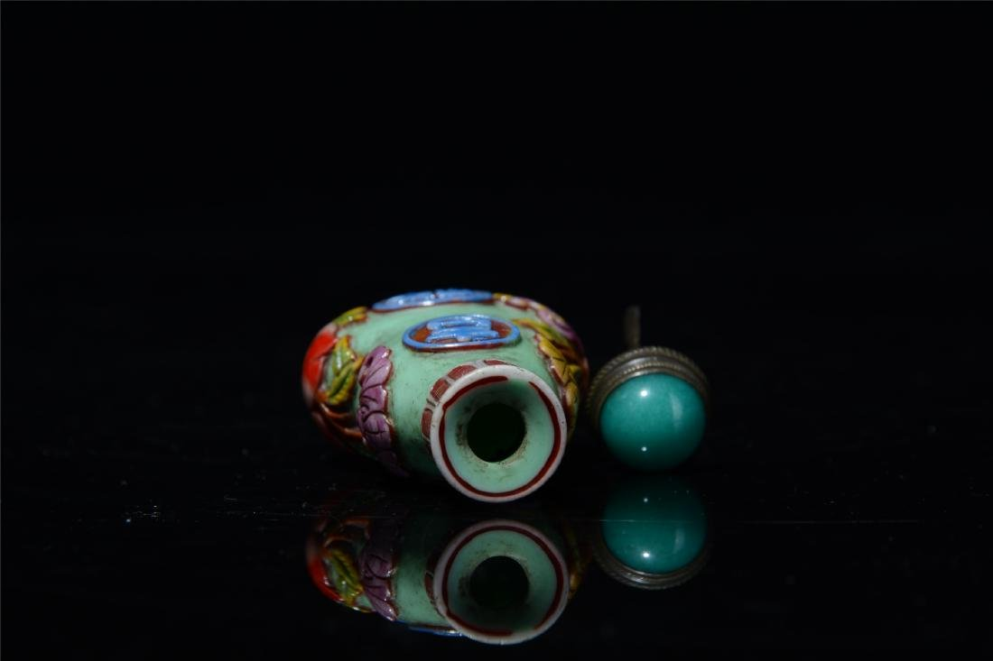 CHINESE PEKING GLASS GOURD SNUFF BOTTLE - 9