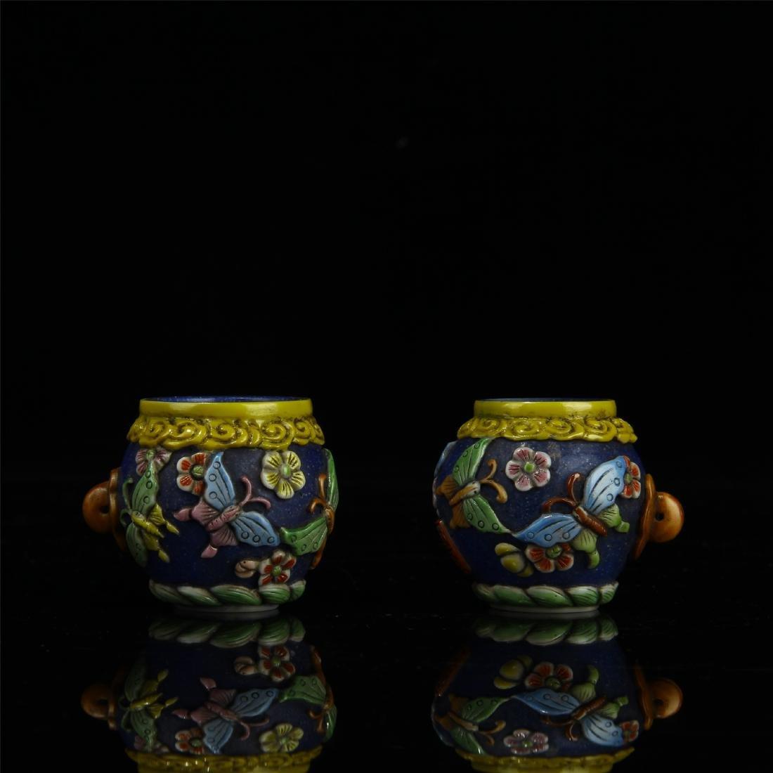 PAIR OF CHINESE PEKING GLASS BIRD FEED JARS