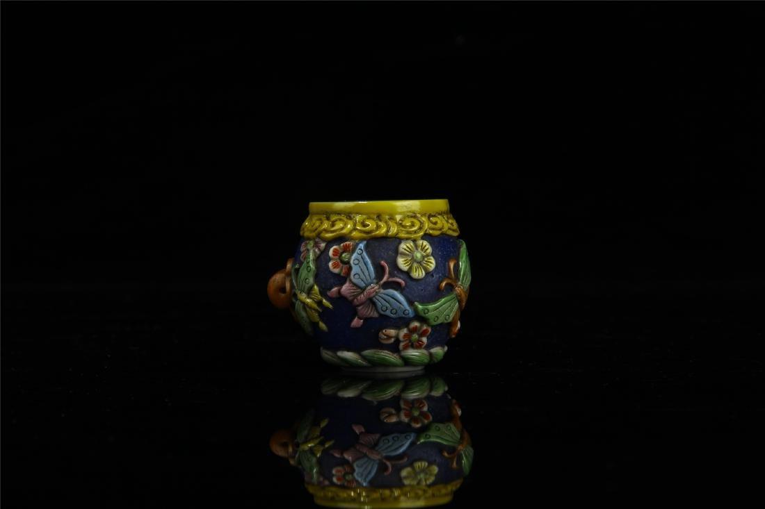 PAIR OF CHINESE PEKING GLASS BIRD FEED JARS - 2