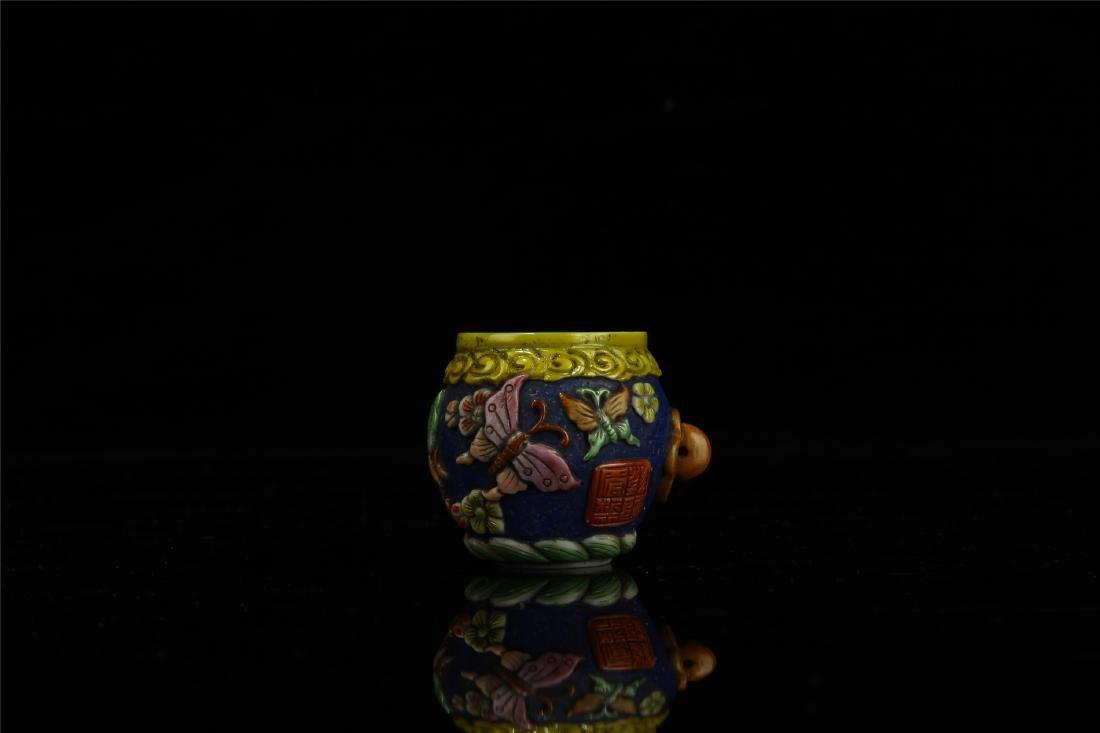 PAIR OF CHINESE PEKING GLASS BIRD FEED JARS - 4