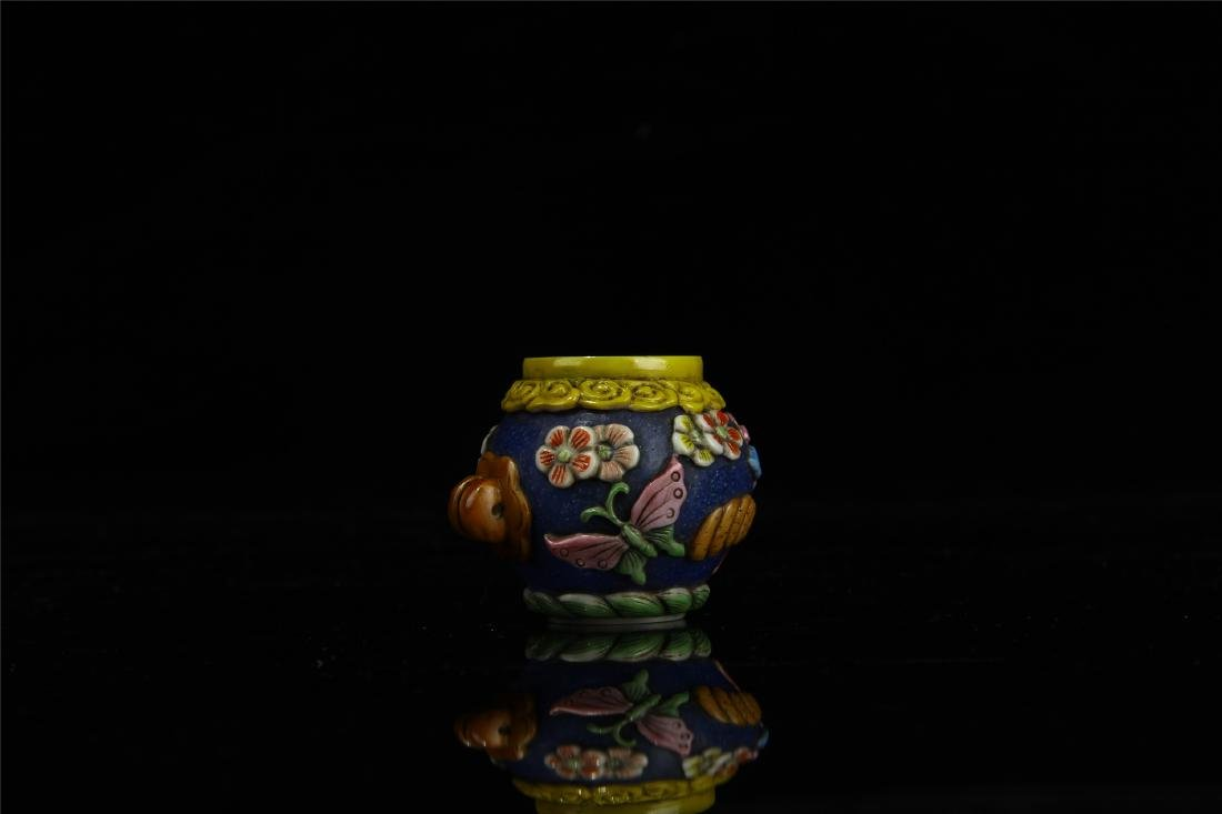 PAIR OF CHINESE PEKING GLASS BIRD FEED JARS - 7