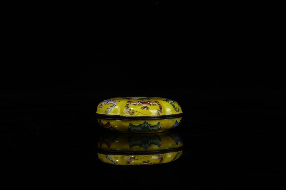 CHINESE ENAMEL BAT LIDDED BOX - 2
