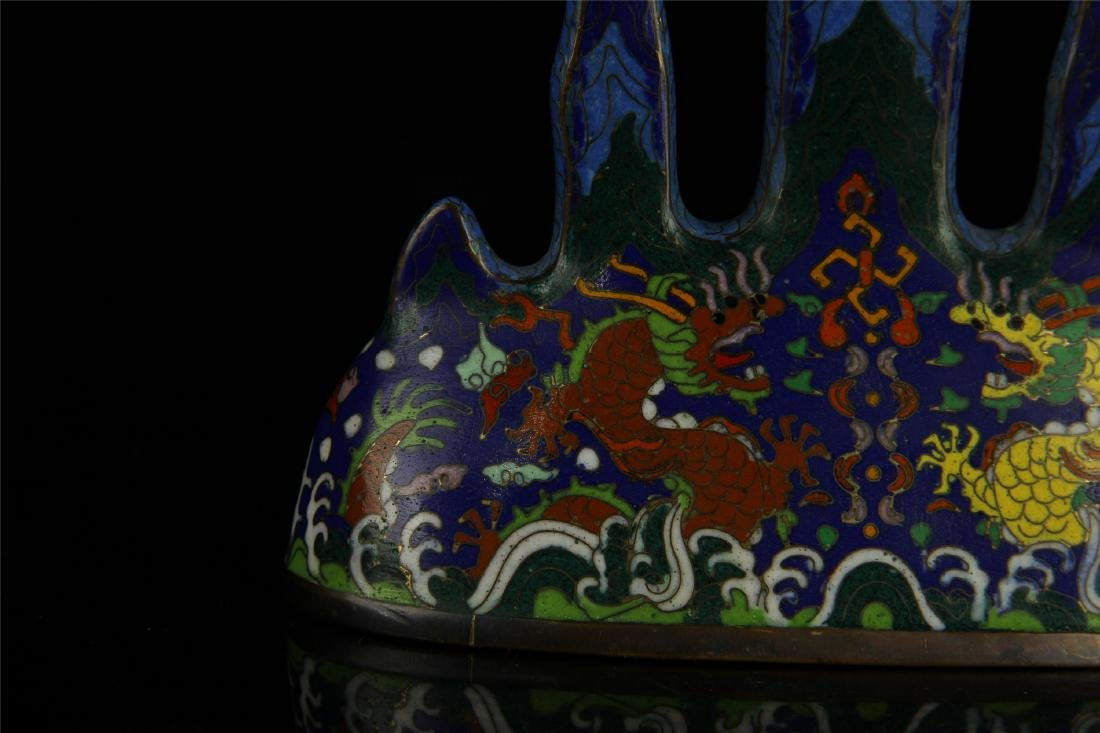 CHINESE CLOISONNE BRUSH HOLDER - 4