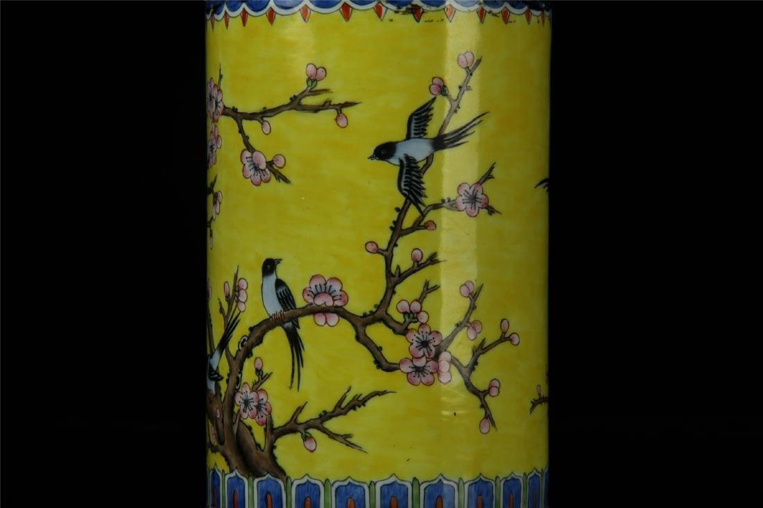 CHINESE ENAMEL BIRD AND FLOWER BRUSH POT - 2