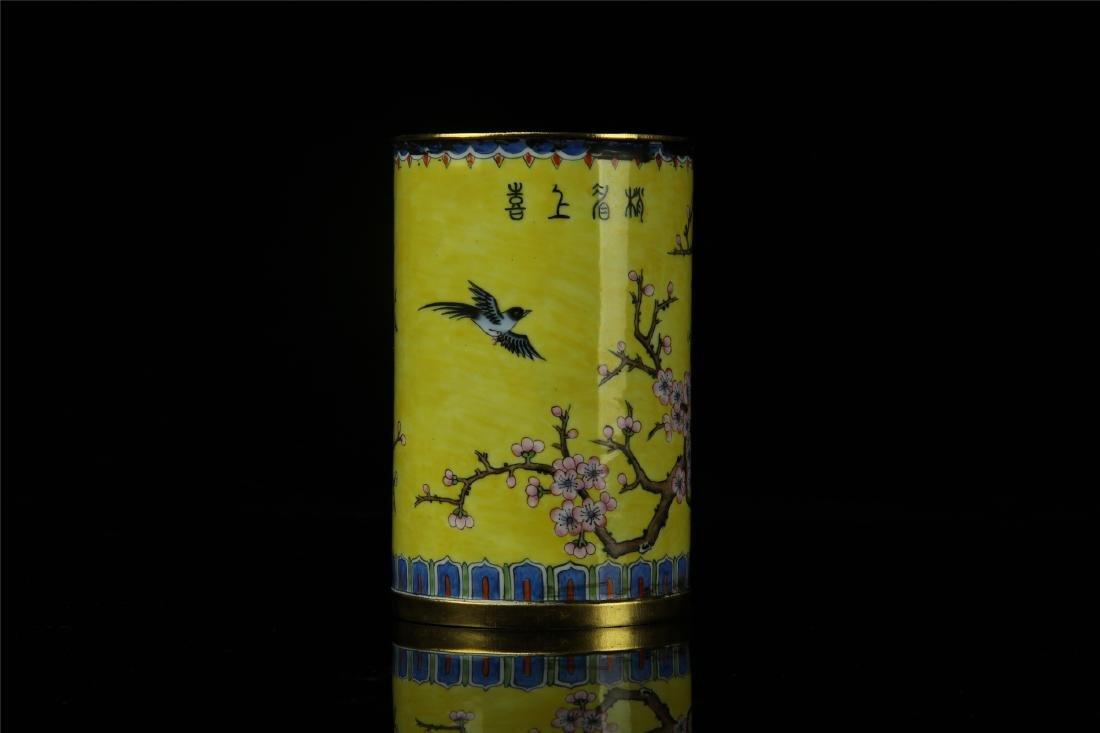 CHINESE ENAMEL BIRD AND FLOWER BRUSH POT - 4