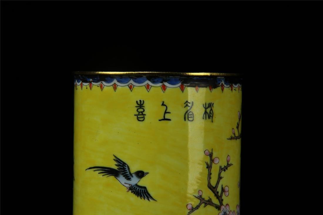 CHINESE ENAMEL BIRD AND FLOWER BRUSH POT - 5