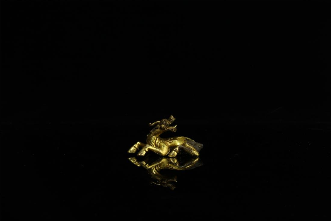 CHINESE GILT BRONZE BREAST PAPER WEIGHT - 2