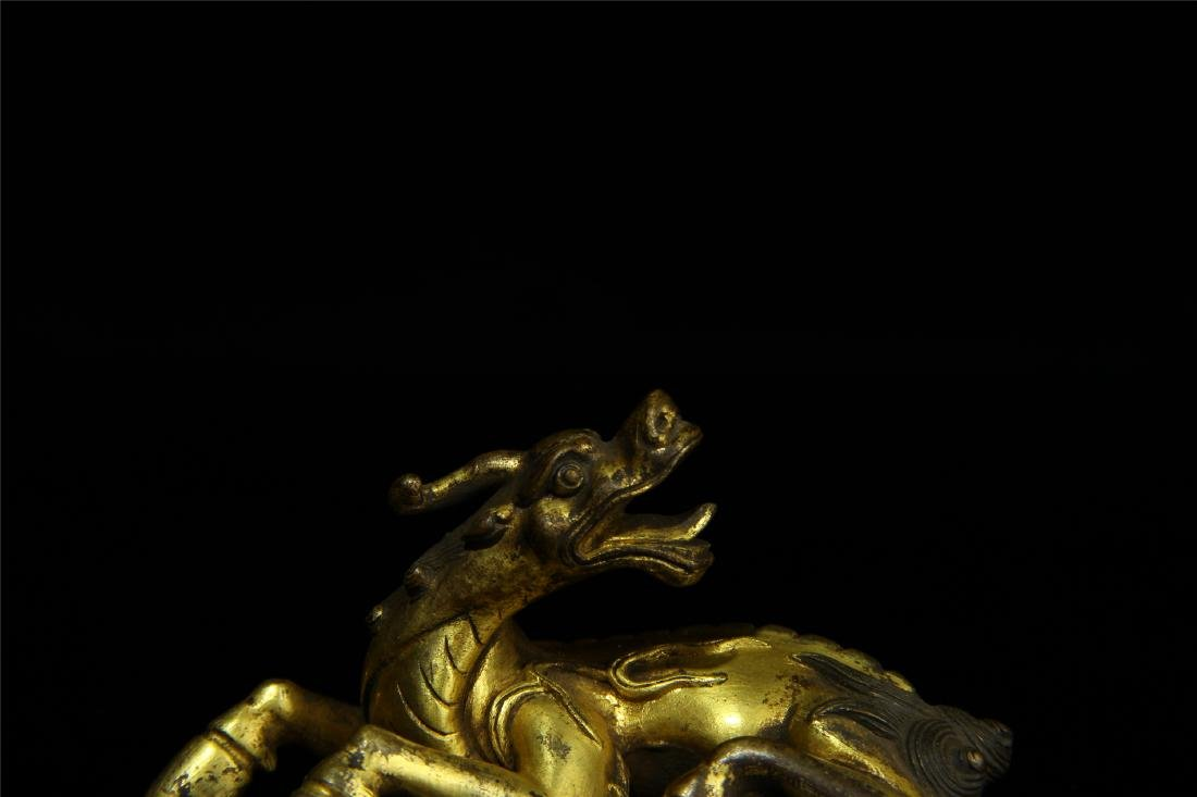CHINESE GILT BRONZE BREAST PAPER WEIGHT - 3