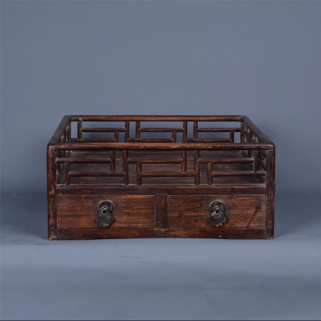 CHINESE ROSEWOOD TRAY BOX