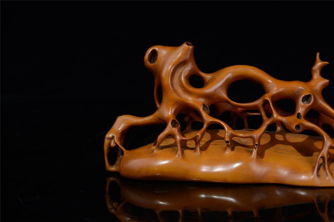 CHINESE BOXWOOD BRUSH HOLDER - 8