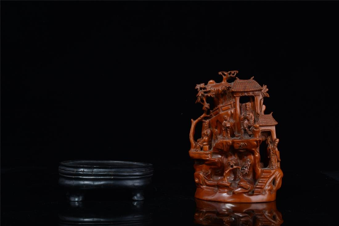 CHINESE BOXWOOD CARVED SCHOLAR'S TABLE ITEM - 10