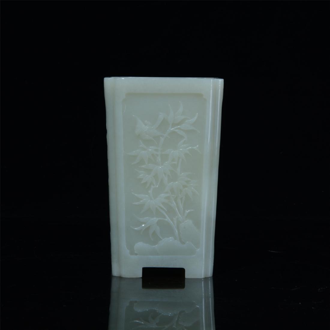 CHINESE WHITE JADE SQUARE BRUSH POT