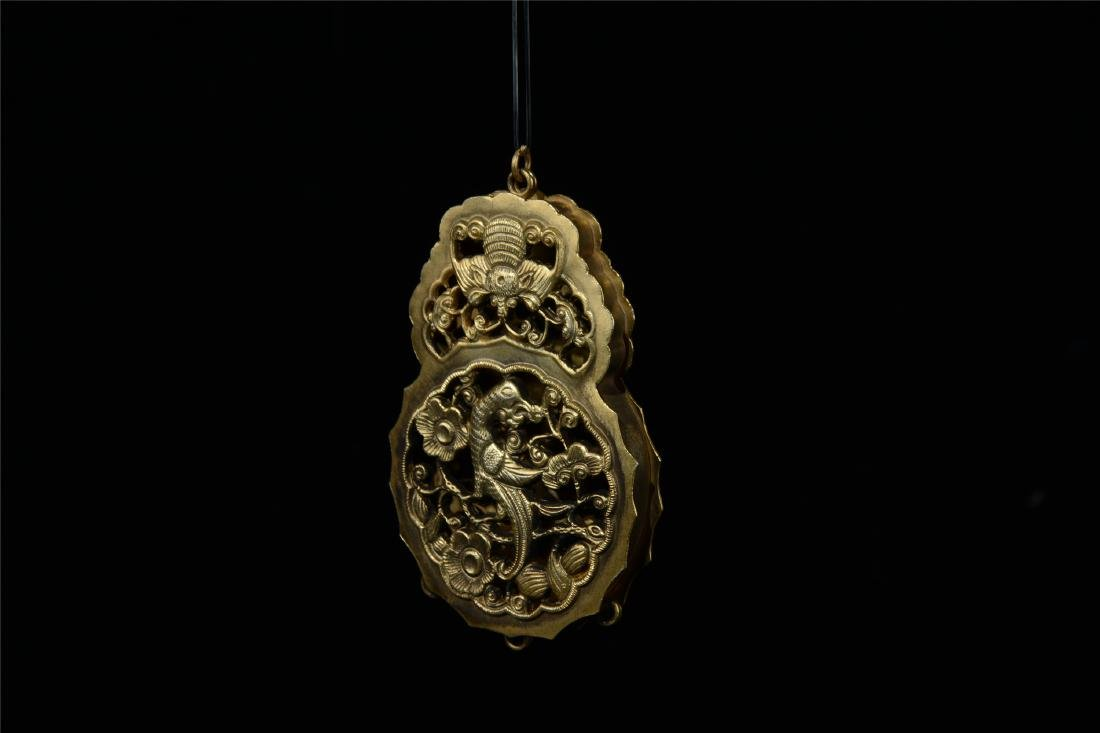 CHINESE GILT SILVER INSENCE CAGE - 2