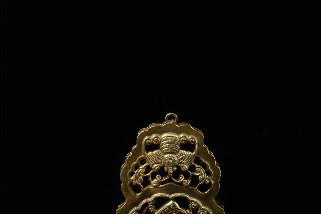 CHINESE GILT SILVER INSENCE CAGE - 3