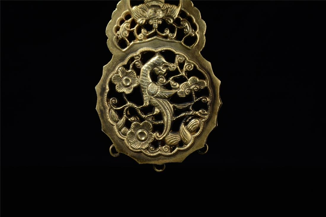 CHINESE GILT SILVER INSENCE CAGE - 4