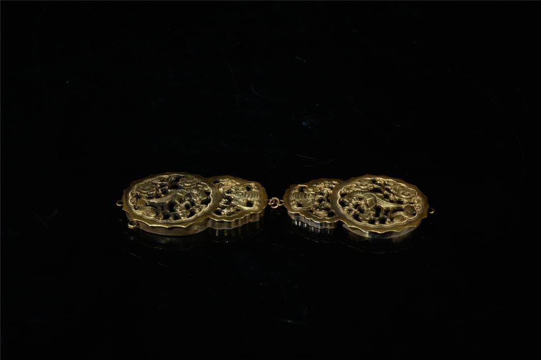 CHINESE GILT SILVER INSENCE CAGE - 6