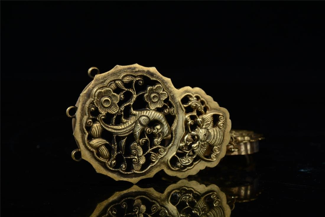 CHINESE GILT SILVER INSENCE CAGE - 8