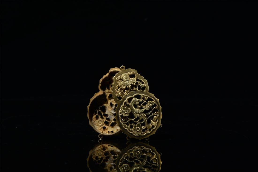 CHINESE GILT SILVER INSENCE CAGE - 9