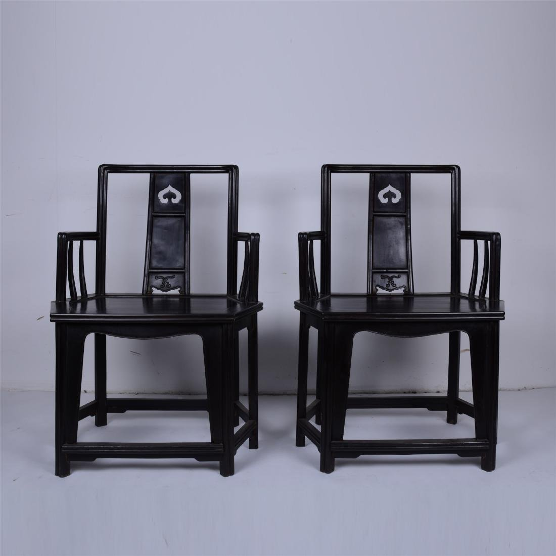 PAIR OF CHINESE EBONY ARM CHAIRS