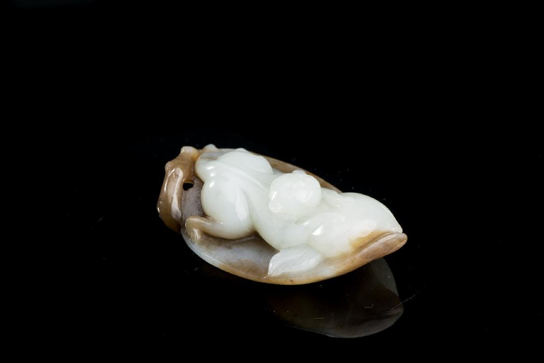 CHINESE JADE CARVED MONKEY ON LEAF