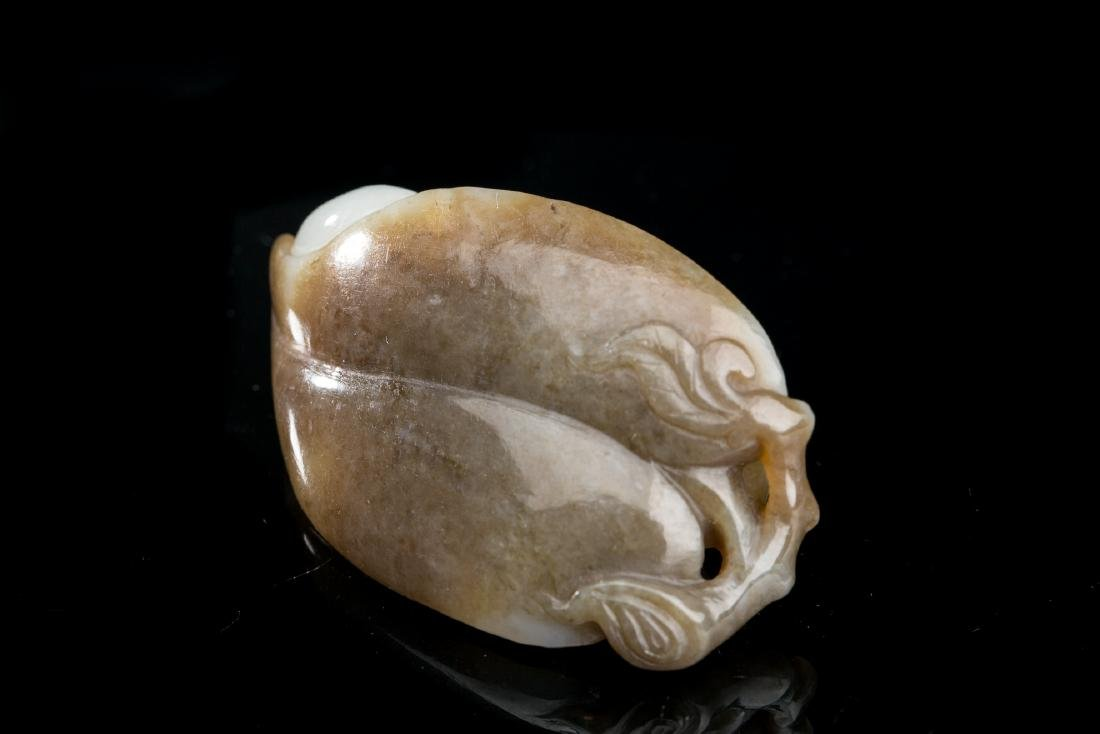 CHINESE JADE CARVED MONKEY ON LEAF - 4
