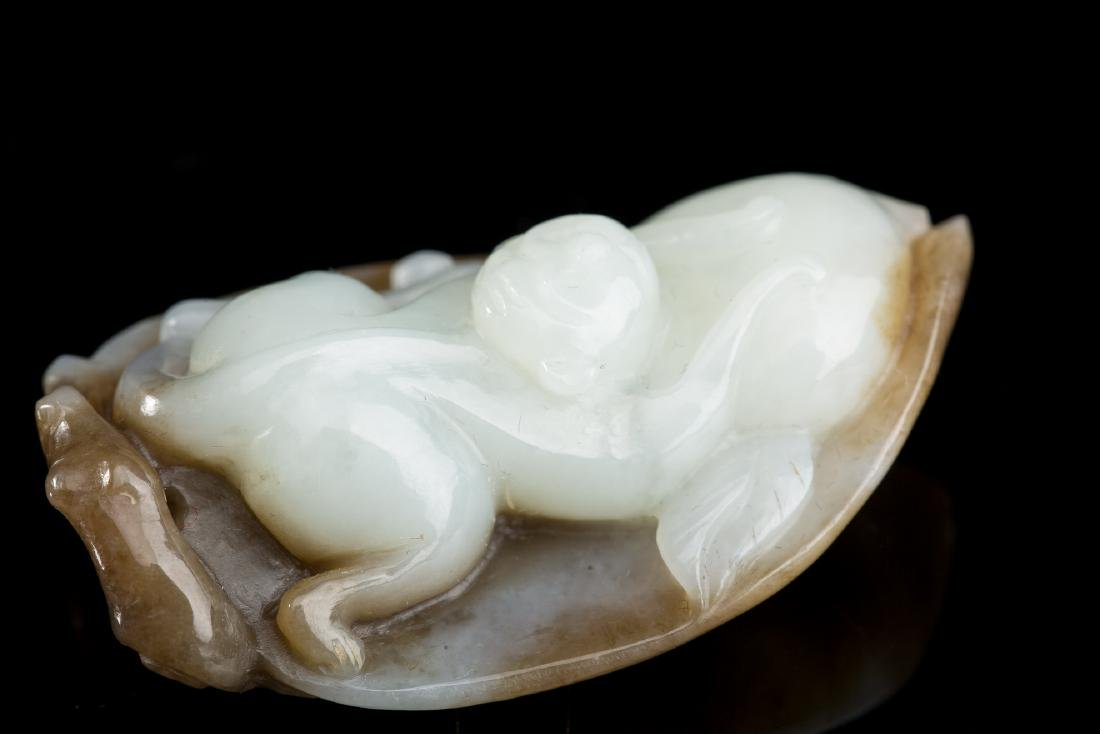 CHINESE JADE CARVED MONKEY ON LEAF - 6